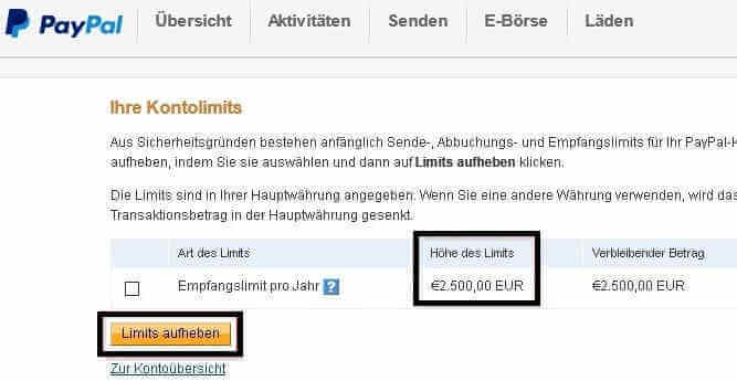empfangslimit paypal
